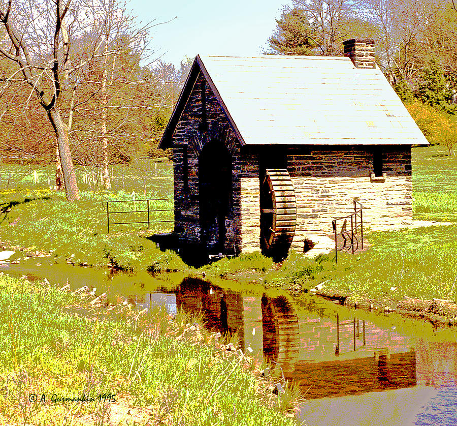 Pump House And Water Wheel In Autumn Digital Art Photograph
