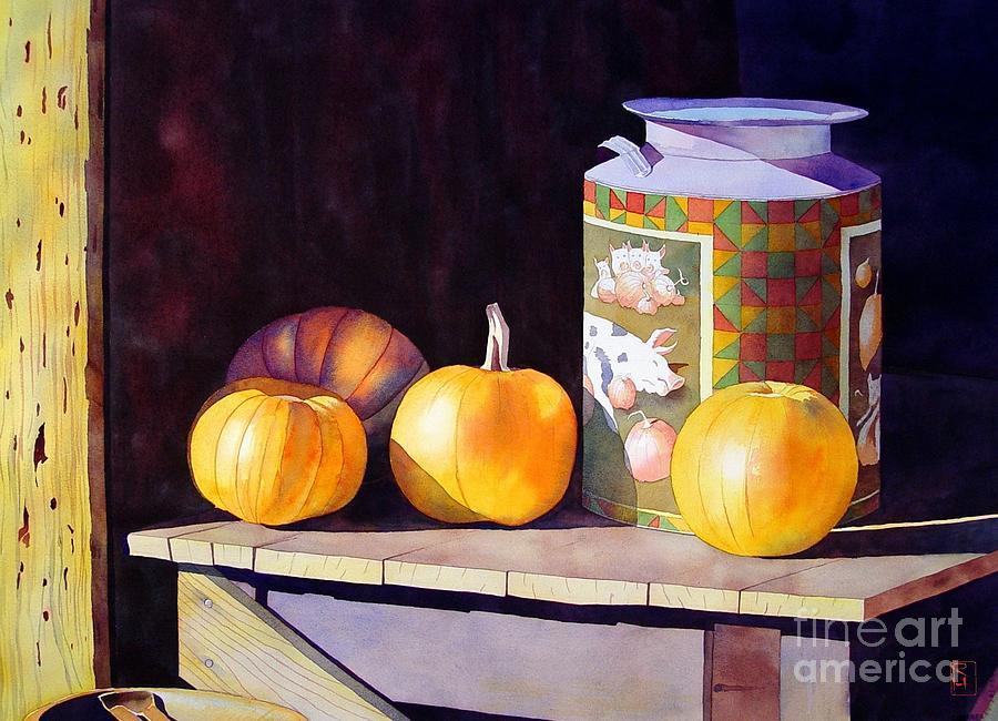 Watercolor Painting - Pumpkiins At Collier Farm by Robert Hooper