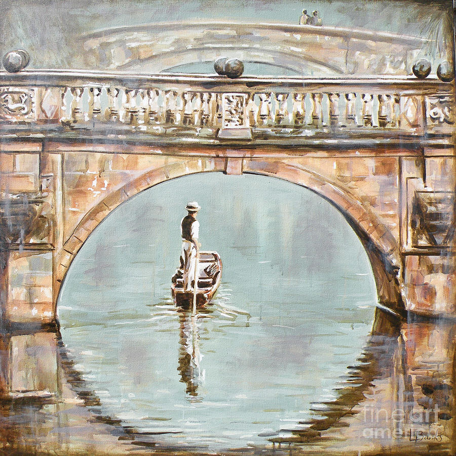 Punting On River Cam Under Clare Bridge Painting