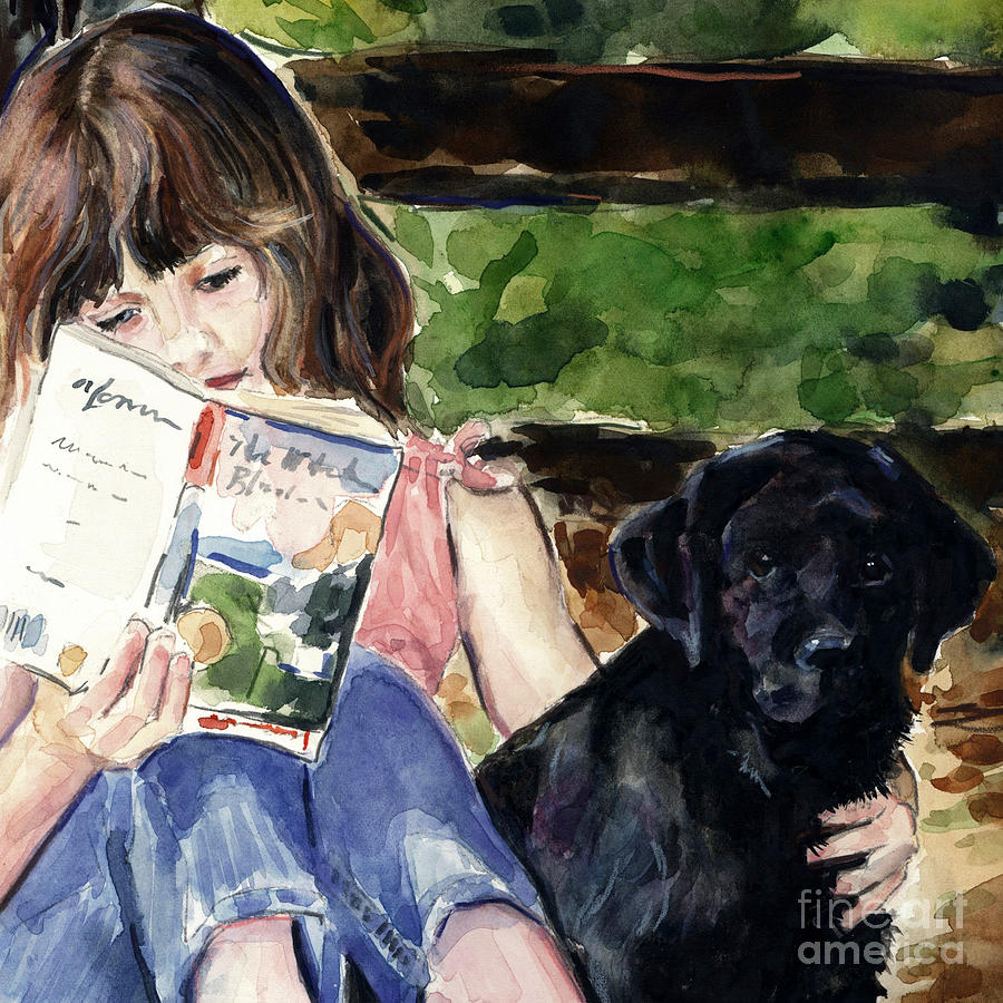 Pup And Paperback Painting  - Pup And Paperback Fine Art Print