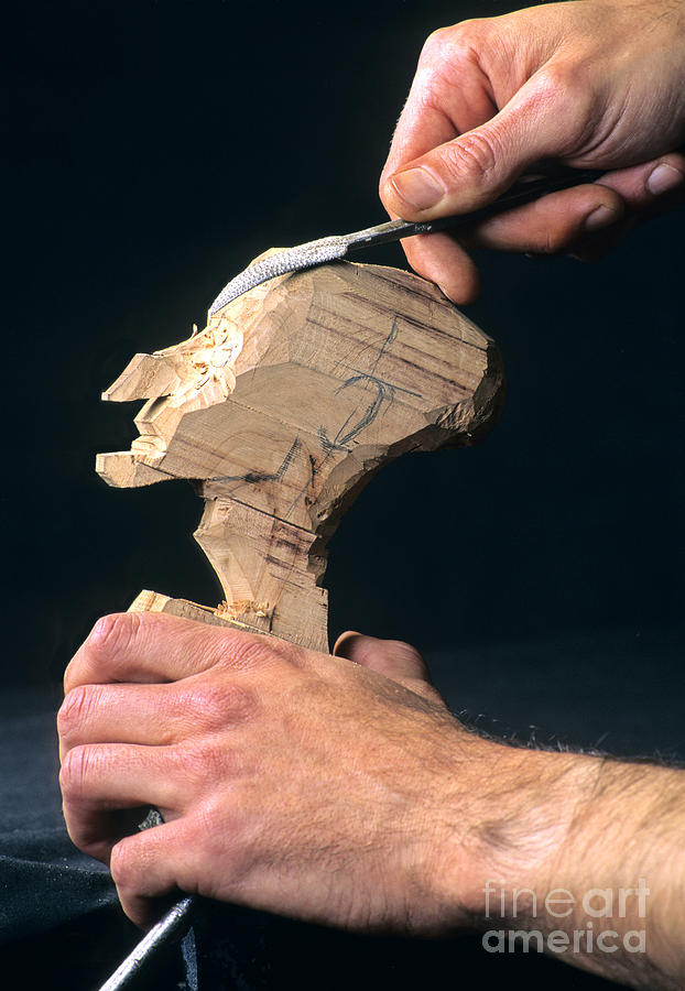 Puppet Being Carved From Wood Photograph