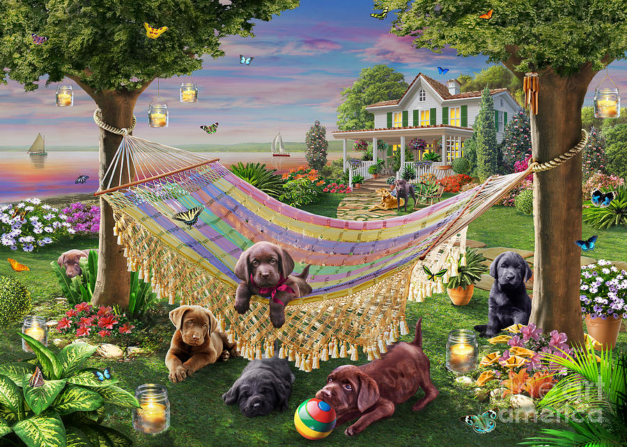 Adrian Chesterman Digital Art - Puppies And Butterflies by Adrian Chesterman
