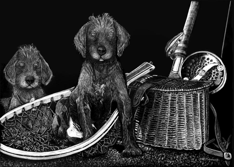 Puppies Are Ready To Go Fish Drawing  - Puppies Are Ready To Go Fish Fine Art Print