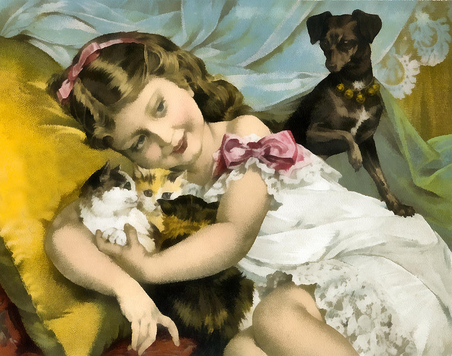 Puppies Kittens And Baby Girl Digital Art  - Puppies Kittens And Baby Girl Fine Art Print