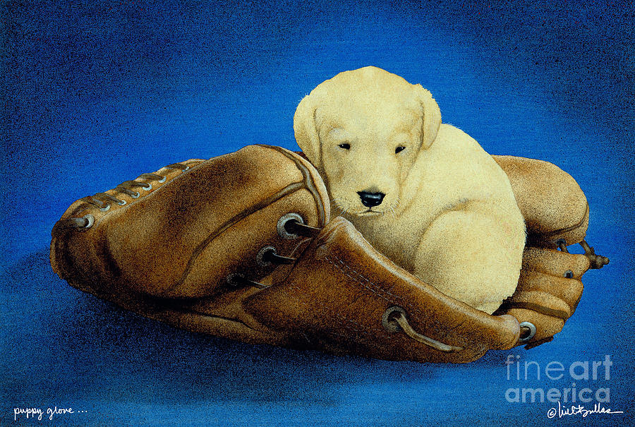 Puppy Glove... Painting  - Puppy Glove... Fine Art Print