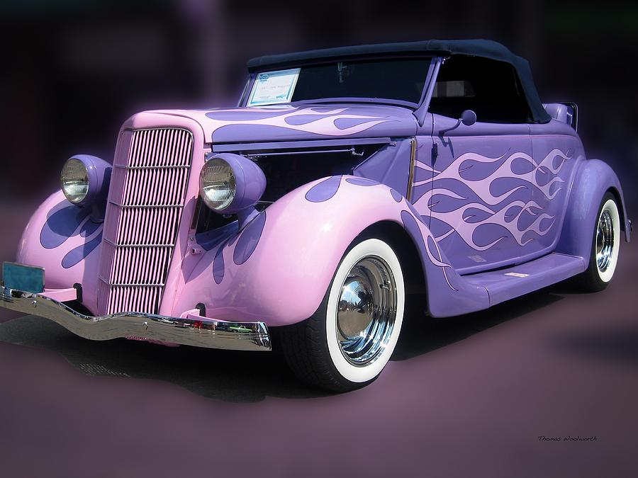 Purple 1935 hot rod car is a photograph by thomas woolworth which was