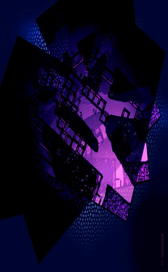 Purple Abstract Geometric Digital Art