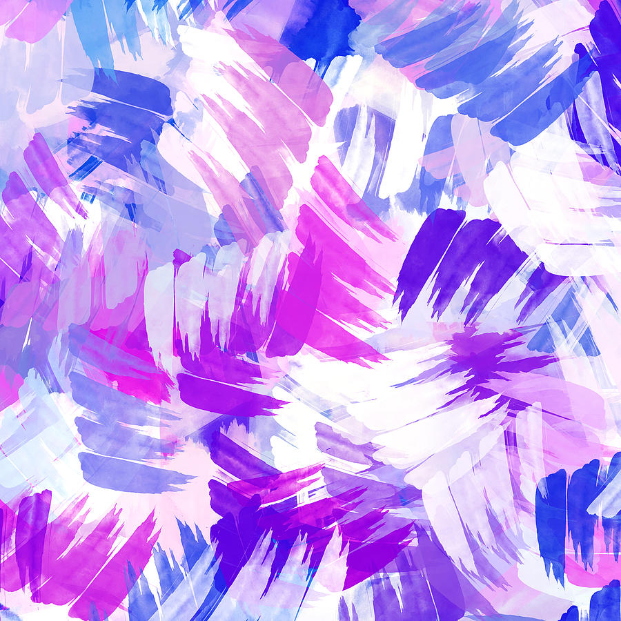 Purple Abstract Paint Pattern Painting By Christina Rollo