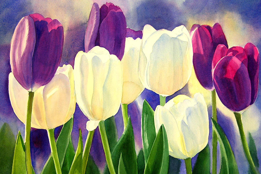 Purple And White Tulips Painting  - Purple And White Tulips Fine Art Print