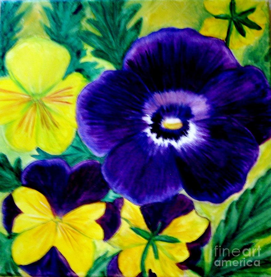 Purple and yellow flower garden painting by juana maria plum for Purple and yellow painting