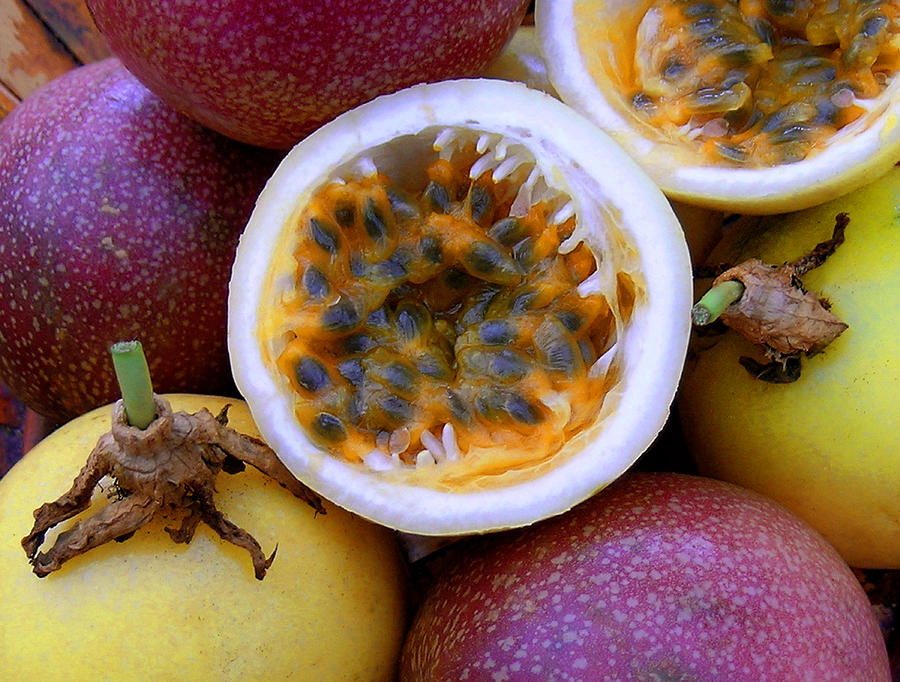 Purple And Yellow Passion Fruit Photograph