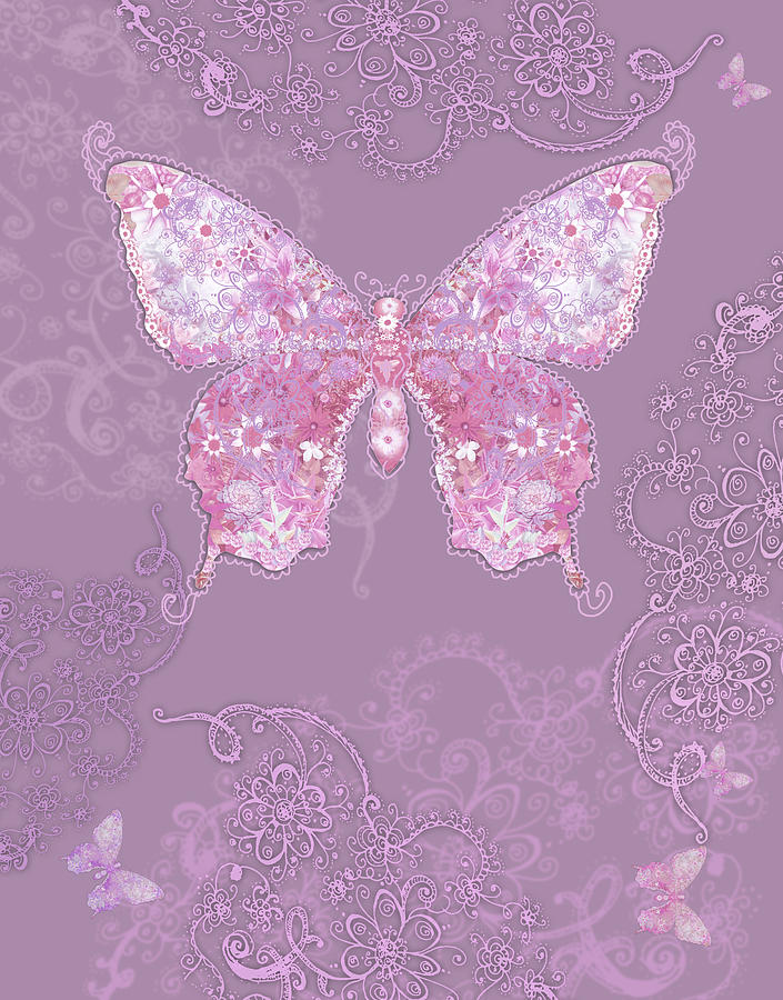 Purple Butterfly Floral Photograph