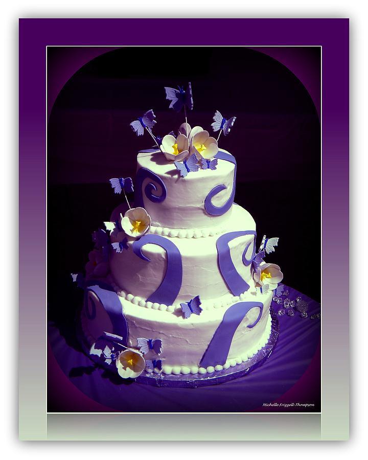 Purple Butterfly Wedding Cake Photograph