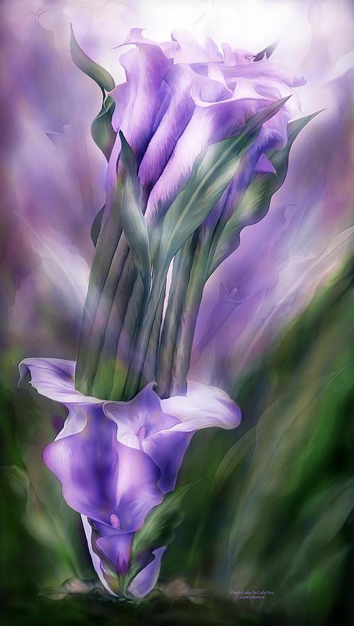 Calla Lilies Mixed Media - Purple Callas In Calla Vase by Carol Cavalaris