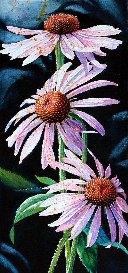 Purple Cone Flowers 1 Painting  - Purple Cone Flowers 1 Fine Art Print