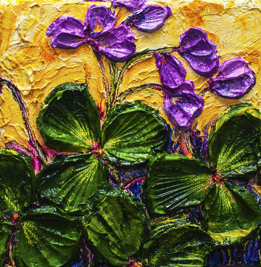 Purple Flowers Shamrocks Painting