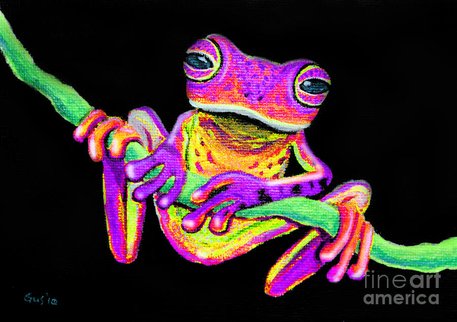 Purple Frog On A Vine Painting
