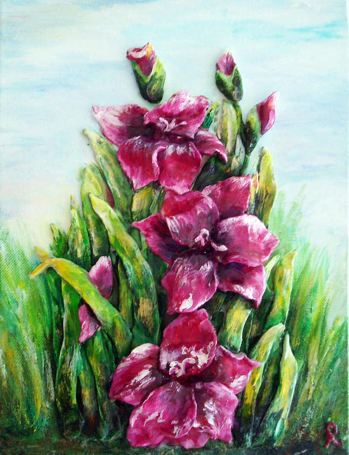 Purple Gladiolus Painting by Raya Finkelson