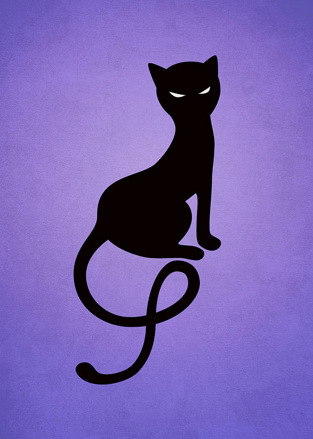 Cats Digital Art - Purple Gracious Evil Black Cat by Boriana Giormova