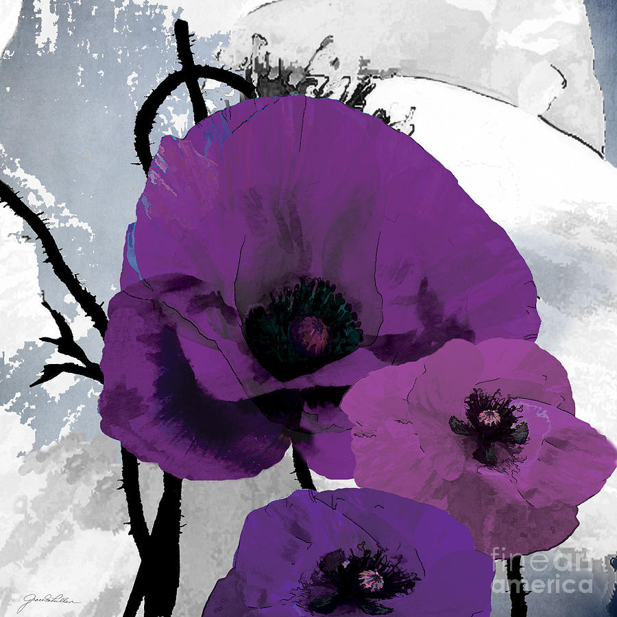 Purple Grey Poppy B Painting