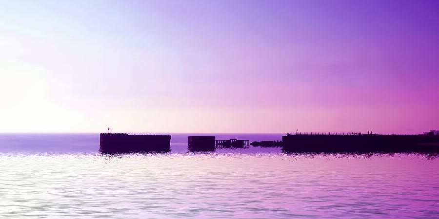 Purple Harbor Digital Art  - Purple Harbor Fine Art Print