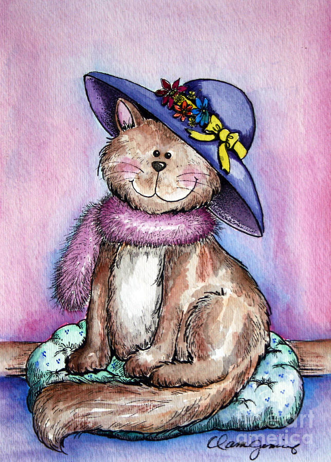Purple Hat Cat Painting  - Purple Hat Cat Fine Art Print