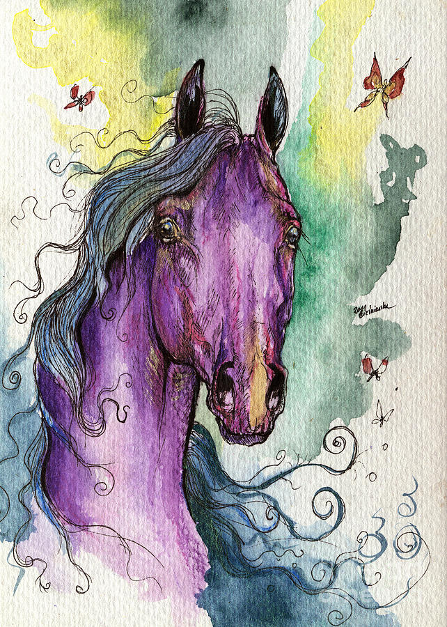 Purple horse by angel tarantella for Angel paintings for sale