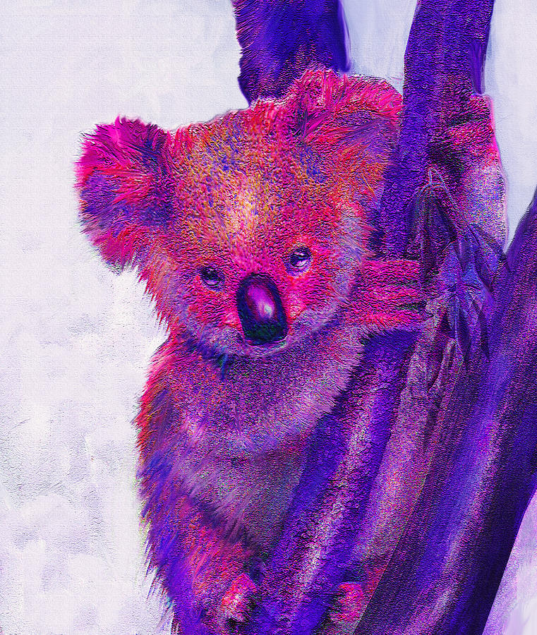 Koala Digital Art - Purple Koala by Jane Schnetlage