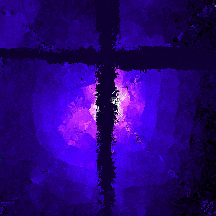 Purple Light Behind The Cross By Bruce Nutting Royalty