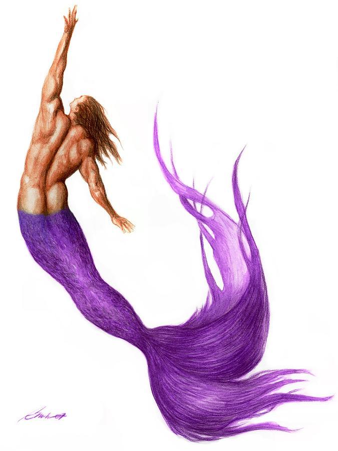 Purple Merman Painting By Bruce Lennon