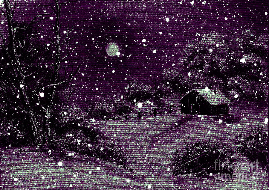Purple Night Full Moon Painting