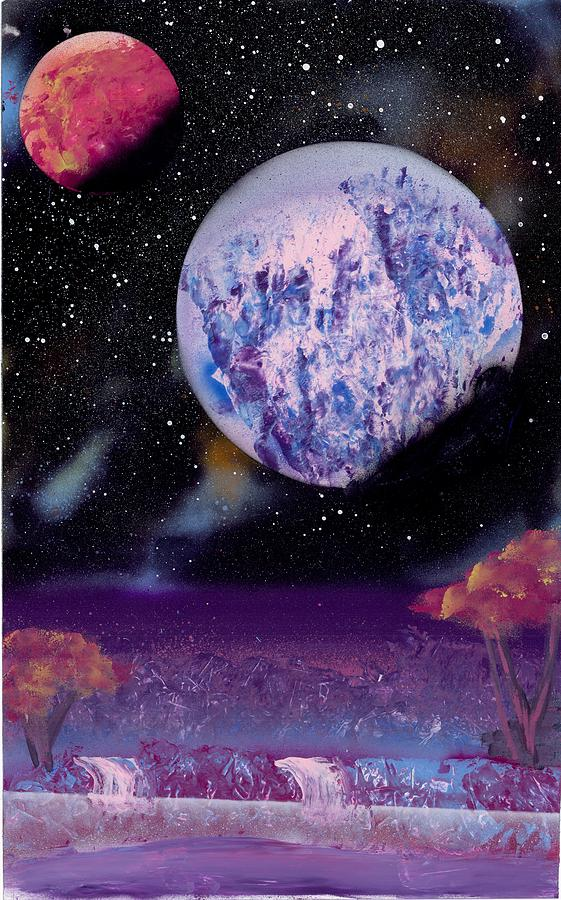 Purple Oasis Painting  - Purple Oasis Fine Art Print