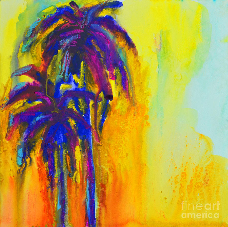 Purple Palm Trees Sunset Painting