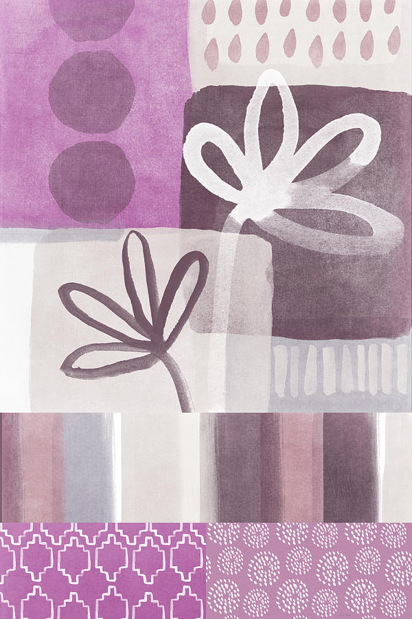 Purple Patchwork- Contemporary Art Mixed Media