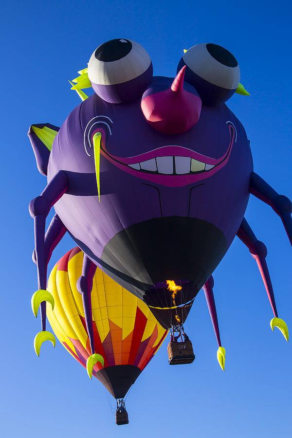 Purple People Eater Hot Air Balloon Photograph - Purple People Eater And Friend by Garry Gay