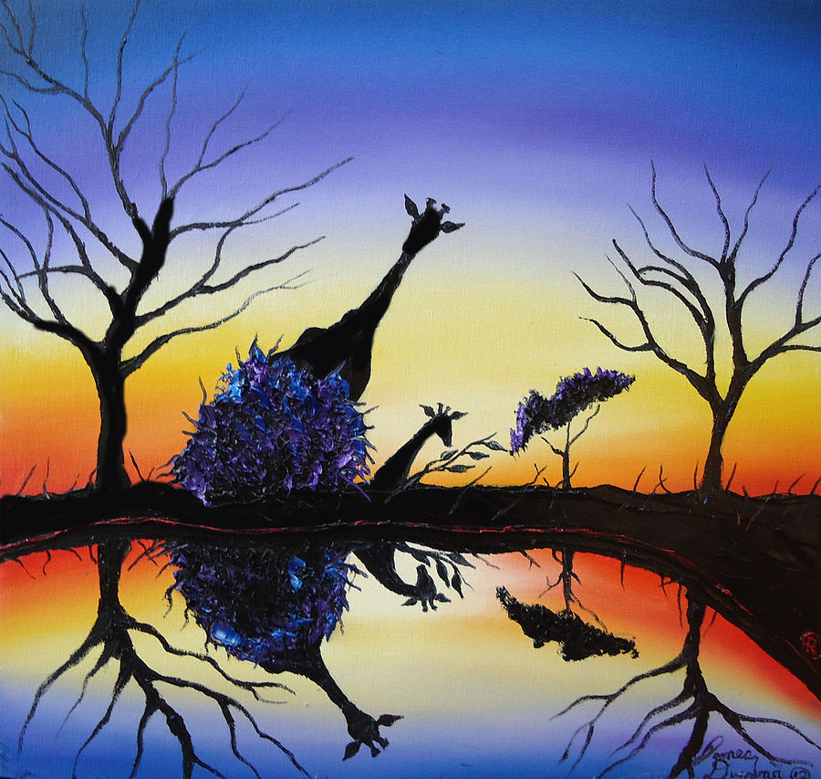 Purple Reflection Of Serengeti Painting  - Purple Reflection Of Serengeti Fine Art Print