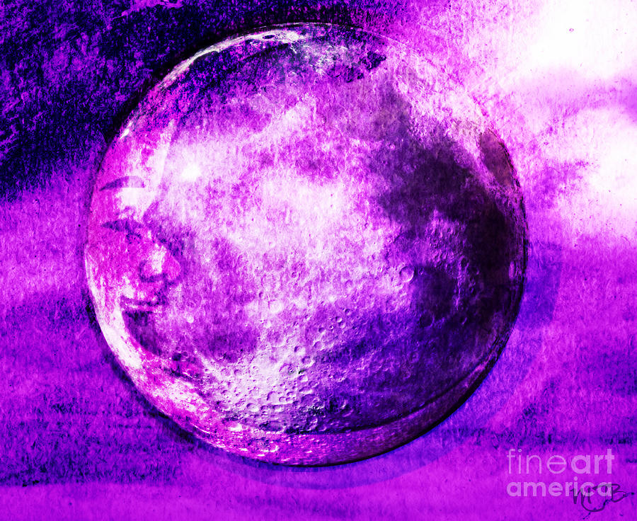 Purple Side Of The Moon Digital Art  - Purple Side Of The Moon Fine Art Print