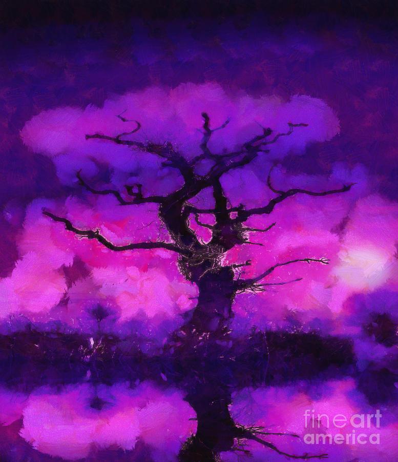 Purple Tree Of Life Painting
