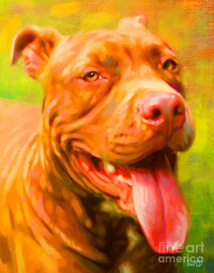 Pit Bull Portrait Painting