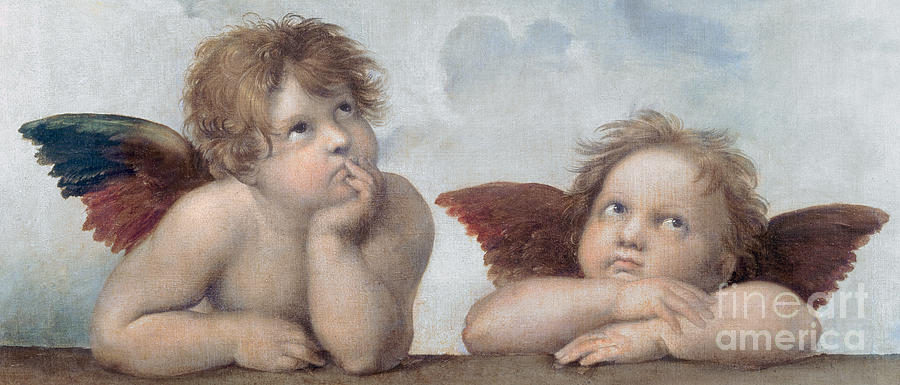 Putto Painting - Putti Detail From The Sistine Madonna by Raphael