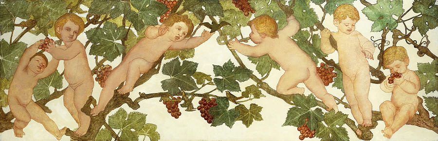 Irish Painting - Putti Frolicking In A Vineyard by Phoebe Anna Traquair