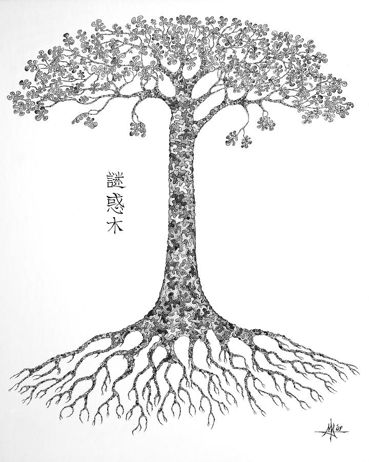 Puzzle Tree Drawing  - Puzzle Tree Fine Art Print
