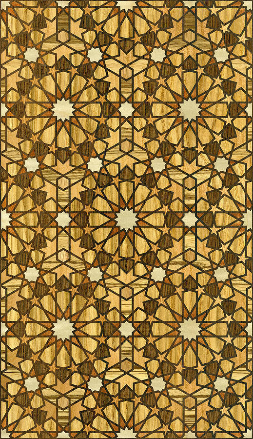 Qarawiyyin Mosque Geometric Pattern 1 Wood Digital Art  - Qarawiyyin Mosque Geometric Pattern 1 Wood Fine Art Print