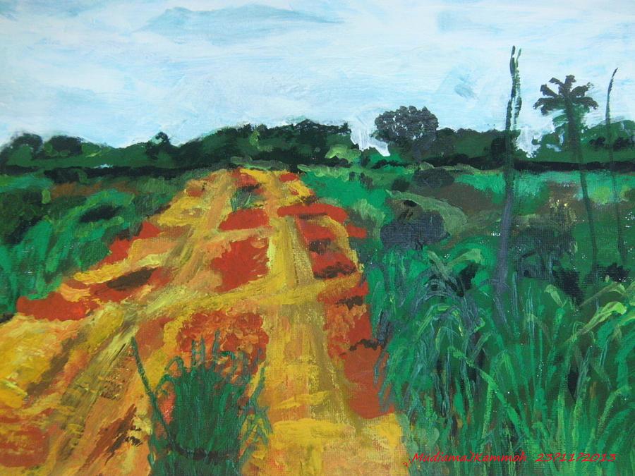 Landscape Painting - Quagmire To My Village by Mudiama Kammoh