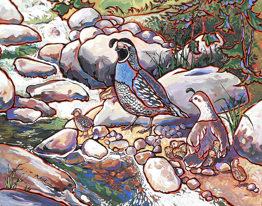 Quail Family Painting