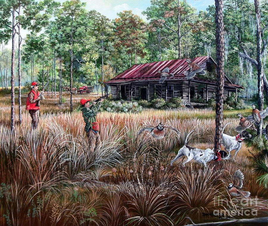 Quail hunting painting