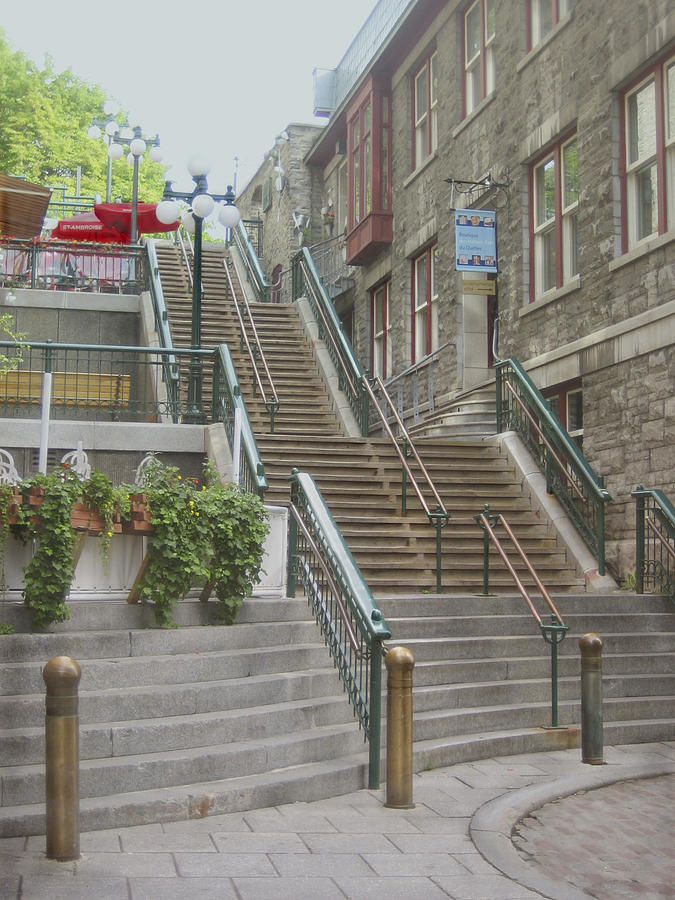 Quebec City Photograph - quaint  street scene  photograph THE BREAKNECK STAIRS of QUEBEC CITY   by Ann Powell