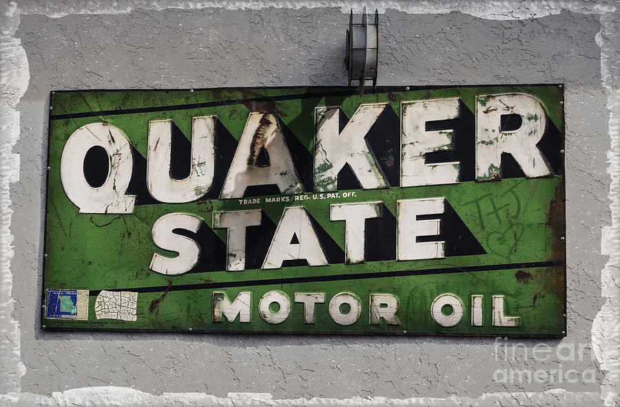 Old Photograph - Quaker State Motor Oil by Janice Rae Pariza