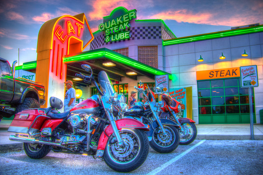Quaker Steak And Lube Bike Night Photograph