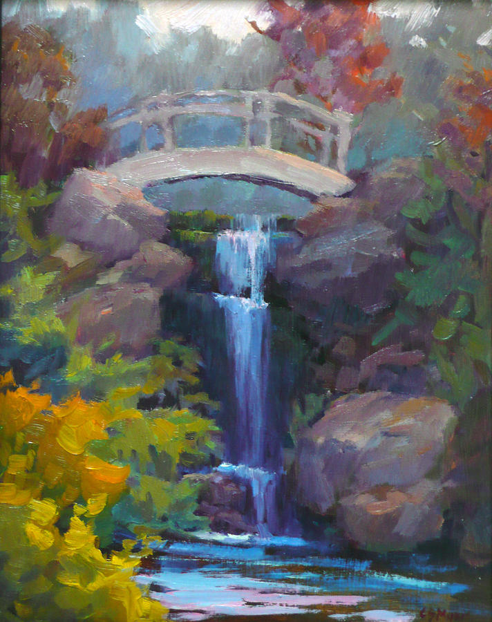 Quarry Hills Waterfall Painting  - Quarry Hills Waterfall Fine Art Print